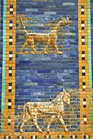 Coloured glazed brick panels of the facade of the first smaller Ishtar Gate, Babylon, dating from 604-562 BC. Babylon (present day Iraq). The Ishtar G...