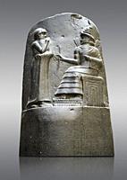 Babylonian Hammurabi stone relief sculpture. Hammurabi was the sixth Amorite king of Babylon from 1792 BC to 1750 BC . Hammurabi (standing), depicted ...