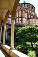 Inner courtyard of Santa Maria delle Grazie church, Milan, Italy.