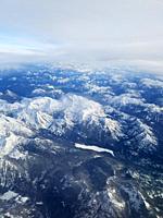 Cascade Mountain Range seen from above. Washington State, USA.
