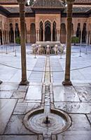 Courtyard of the lions. Palace of the Lions. Nazaries palaces . Alhambra, Granada. Andalusia, Spain.