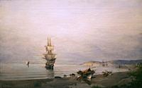 In Calm waters, 1875-1882. oil on canvas. Painting collection 'seascapes' by Constantinos Volanakis at the Theocharakis Foundation for the Fine arts a...
