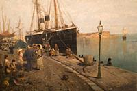 At the dock, 1870-1875. oil on canvas. Painting collection 'seascapes' by Constantinos Volanakis at the Theocharakis Foundation for the Fine arts and ...