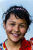 Uyghur girl, Old Town, Yarkand, on the Southern Silk Road (it was an important caravan town), at the southern edge of the Taklamakan Desert. Xinjiang ...