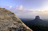 Views of the Sigiriya lion rock temple from the top of Pirudangala rock. Sri Lanka.