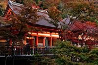 Amida-do and Okuno-in hall of Kiyomizu-dera Buddhist temple in autumn scenery. Kyoto, Japan.
