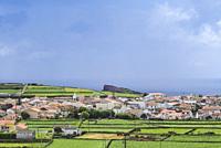Portugal, Azores, Terceira Island, Sao Sebastiao, elevated town view.