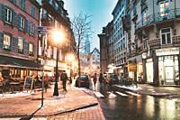 Night scene. Old City. Strasbourg. France.