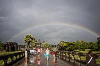 Rainbow over the Temple of Angkor Wat, Unesco world heritage site (Siem Reap Province, Cambodia).