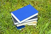 Pile of various books in the fresh green grass.