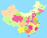 Map of China with showing the provinces, autonomous regions and municipalities, with a clipping path, isolated on a blue background.