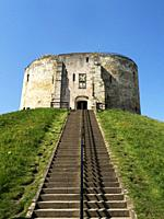 Cliffords Tower13th century castle keep formerly used as a prison and royal mint York Yorkshire England.