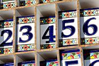 Ceramic Numbers. Street market Torre del mar. Andalucia, Spain.