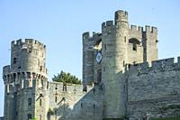 Towers & Ramparts of Warwick Castle at Warwick Castle, Warwickshire, England.