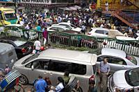 DHAKA, BANGLADESH - MAY 22 : People stuck in traffic jam in Dhaka , Bangladesh on May 22, 2018. . In the last 10 years, the average traffic speed in D...