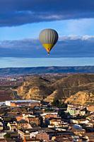 Hot-air ballooning, Tourism Experience, Aitona village, Baix Segre, Lleida, Catalonia, Spain, Europe.