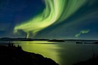 Northern Lights at Lake Thingvallavatn. Aurora Borealis, Iceland.