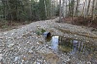 Flood damage area along the Pemi East Side Trail / Road in Lincoln, New Hampshire on October 31, 2017 after heavy rain and strong winds from an Octobe...