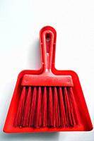 Red Plastic Dustpan and Brush.