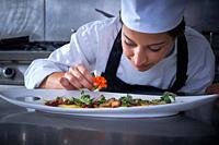 Chef woman garnishing flower in dish at stainless steel kitchen.