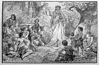 France. Druid lecturing in a forest. A druid was a member of the high-ranking professional class in ancient Celtic cultures. While perhaps best rememb...