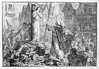 """France. Jeanne d´Arc burnt at Rouen. Joan of Arc (French: Jeanne d'Arc, 6 January c. 1412 - 30 May 1431), nicknamed """"""""The Maid of Orléans"""""""" (French: L..."""