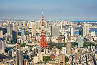 Japan, Tokyo City, Minato Ku panorama, Tokyo Tower.