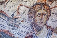 Roman Mosaic depicting sea-goddess Tethys at Jaen Museum. Fragment detail.