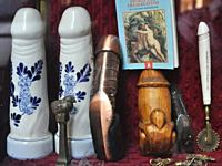 Turin, Italy: vintage dildos from the window of an antique shop specialized in old erotic goods