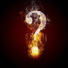 Question symbol burning, fire.