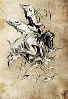 Sketch of tattoo art, fairy, fantasy illustration, textured background.
