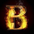 B, fire letter illustration.