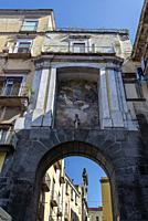 San Gennaro Gate from 16th century and fresco of Mattia Preti 17th century, one of the gates of the Old Town, Naples, Italy.