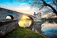 St Benezet bridge, located in the City of the Popes. UNESCO World heritage site. Avignon. Vaucluse. Provence-Alpes-Côte d'Azur. France.