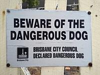 Dangerous dog warning, Brisbane, Australia.