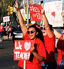 Hundreds of teachers and supporters rally on April 25, 2018, in Tucson, Arizona, USA, prior to a teachers state-wide strike for greater funding for ed...