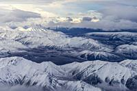 United States, Alaska, Arctic National Wildlife Refuge, North Slope Borough, aerial view with the Brooks range.
