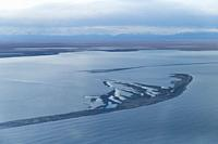 United States, Alaska, Arctic National Wildlife Refuge, North Slope Borough, aerial view of the surrounding of Bartel island and the village of Kaktov...