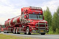 LEMPAALA, FINLAND - AUGUST 9, 2018: Scania T164 super truck History of Scania Pouls Bremseservice A/S on truck convoy to the leading trucking event Po...