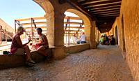Arcade of Plaza Mayor. Pedraza, Segovia province, Castilla Leon, Spain.