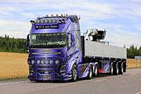 JALASJARVI, FINLAND - AUGUST 12, 2018: Beautifully customized Volvo FH16 750 of H.J.A. Van Dalen on road returning from Power Truck Show 2018. Credit:...