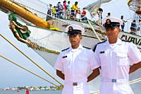 Officers of the training ship Cuauhtemoc of Mexico in Cartagena Colombia. South America.