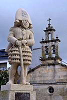 Church and sculpture of a Felo in Maceda, Orense, Spain.