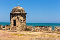 Bastion in the ancient walled city of Cartagena de Indias. UNESCO's historical heritage of humanity. Cartagena, Colombia.