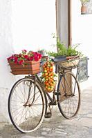 Alberobello in Bari Puglia, Italy.Decorated bicycle on trullo.