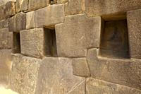 Ancient Inca walls at Ollantaytambo Archaeological Site, Cusco Region, Urubamba Valley, Peru, South America
