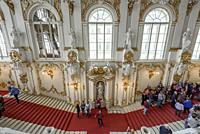 Main stairs in the entrance of the Hermitage. Winter Palace, St. Petersburg, Russia.