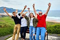 Tour guide with group, Tour along the coast of the Basque Country, Zarautz, Gipuzkoa, Basque Country, Spain, Europe
