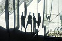 Four morphed figure reflections in the mirror sections of the mediterranean and archeological gardens at the Roman Museum, Nimes, Provence, France.