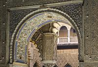 Highly artistic Moorish architectural details in the Alcazar of Seville. Seville province, Andalusia, Spain.